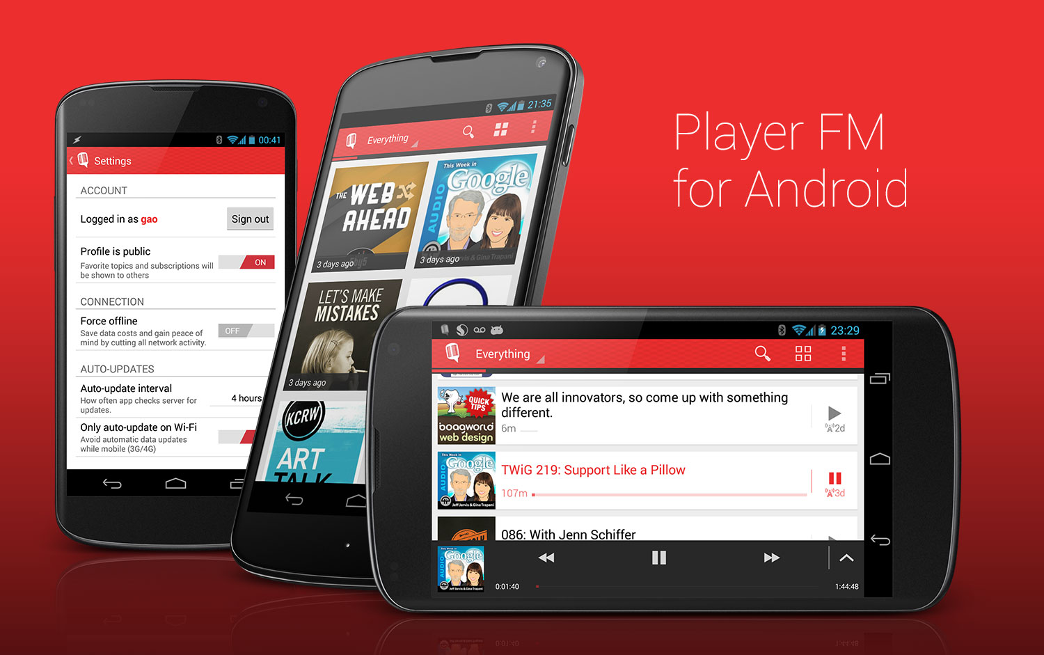 Player FM for Android UI design